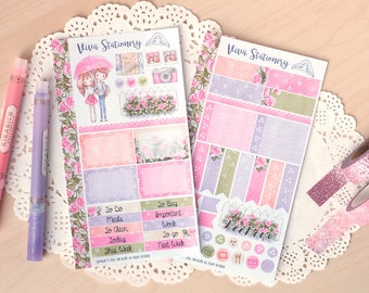 Love Rain ~ Personal Planner Decorative Sticker Kit, two sheets ~ For your Diary, Journal, Scrapbook, Filofax, Kikki K, Kate Spade, Midori..