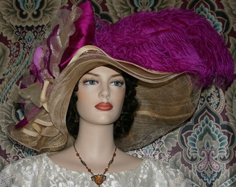 Kentucky Derby Hat Ascot Edwardian Tea Party Downton Abbey Hat Women's Fuchsia Pink Hat Gold Hat One of a Kind  - Fuchsia Sunset