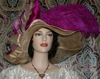 Kentucky Derby Hat, Ascot Hat, Edwardian Tea Party Hat, Downton Abbey Hat, Royal Wedding Hat, Del Mar Hat - Fuchsia Sunset