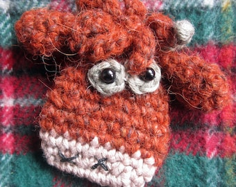 Toffee the Heilan Coo Crocheted Brooch