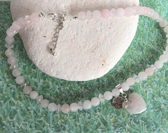 Frosted Rose Quartz Heart Necklace