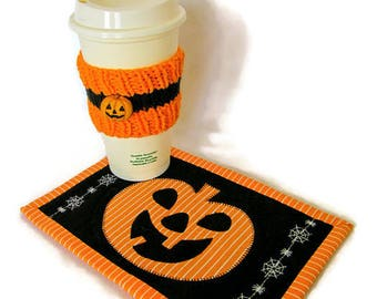 Halloween Mug Rug and Cup Cozy Set; Jack O'Lantern Snack Mat and Mug Hug; Pumpkin Trivet; Halloween Desk Set;Halloween Decor; Halloween Gift