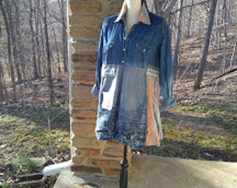RESERVED for Susan Alternative Upcycled Denim Long Tunic with stripes and pockets size XL  womens clothing boho altered recycled shirt
