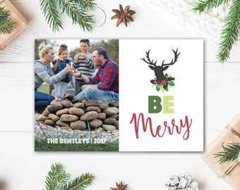Be Merry Deer Christmas Card