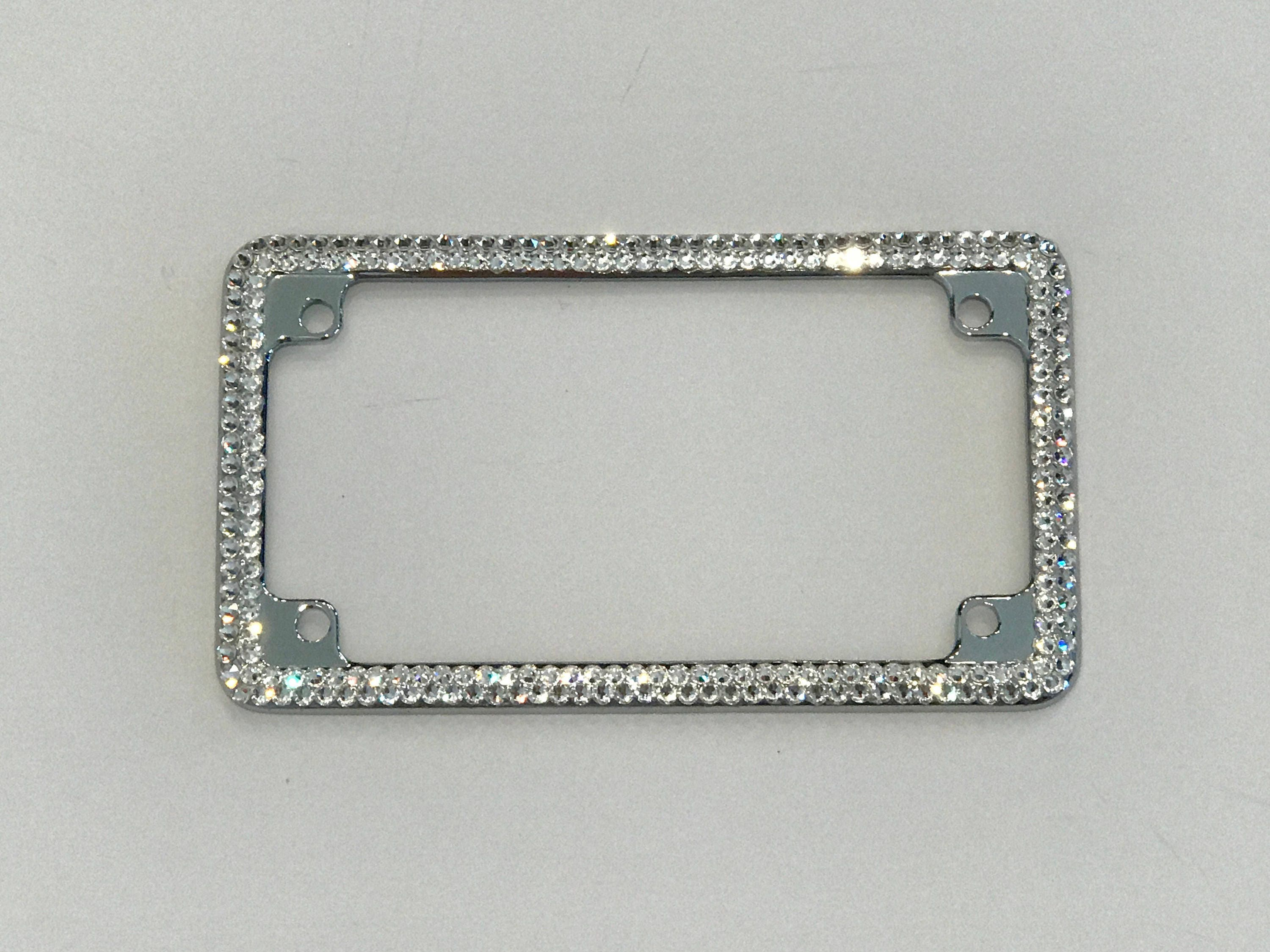 Swarovski Bling Crystal Motorcycle License Plate Frame with or