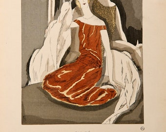 Art Deco Woman with Greyhound