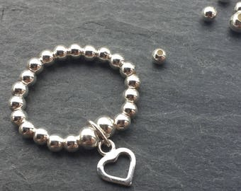 925 Sterling Silver Heart Ring, Silver Bead Ring, Gift for Girlfriend, Sterling Silver Stacking Ring,