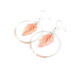 Miyuki coral Origami - pink leaf earrings Japanese paper
