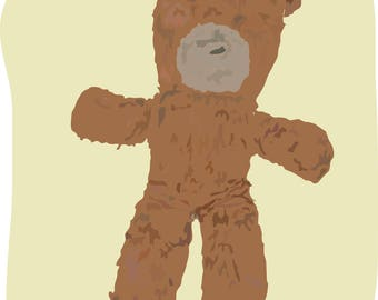 custom drawing of your first toy, doll, teddy
