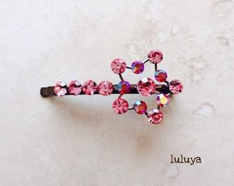 High Quality Pink Crystal Rhinestone Hair Clip Bobby Pin