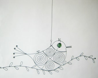 Green - Eyed Wire Bird On A Wire Twig / Gift For Mother / Wall Art Or Window Art