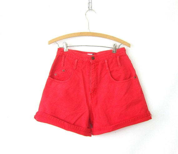 1980s RED Jean Shorts High Waist Denim Shorts Roll Up Cuffs Hipster Indie High Rise MOM Jeans Shorts Womens Size 9 28 inch waist