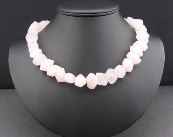 Rose Quartz Cut Crystal Necklace