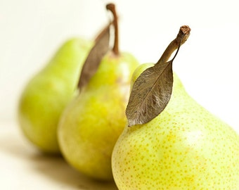 Food photo fruit - Pear Can Can - 8x10 kitchen art print - food photography kitchen decor orchard fall harvest