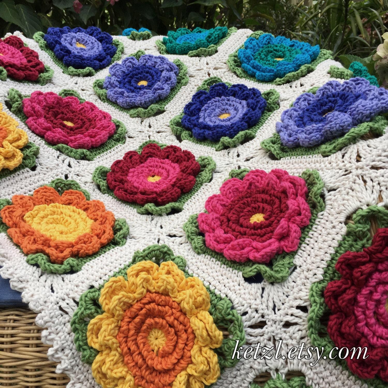 Crochet blanket pattern crochet pattern baby blanket crochet flowers crochet blanket pattern crochet pattern baby blanket crochet flowers pattern bright big flowers for pram cot crib afghan izmirmasajfo