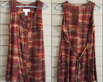 Vintage 90's 80's Small burgundy red, olive green, and tan leaf print big button up tie back tank top