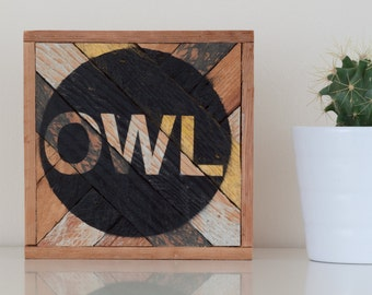 "6""x6"" ""Owl"" Stark & Steel Series #104 || Modern Reclaimed Artworks"
