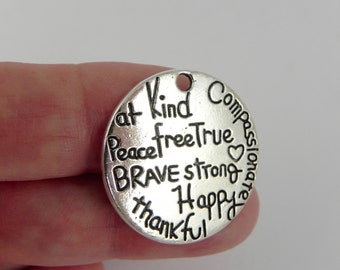 10 Word Pendant Charms - Words of Encouragement and Inspiration - 25mm - Brave, Strong, Compassionate, Peace, Happy