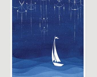 sailboat illustration, watercolor painting, stars print, nautical painting, stars print, nursery decor, blue illustration