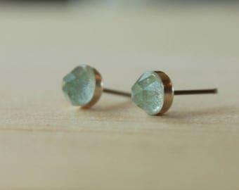 Rose Cut Faceted Sky Blue Topaz Gemstone 6mm Bezel Set on Niobium or Titanium Posts (Hypoallergenic Stud Earrings for Sensitive Ears)