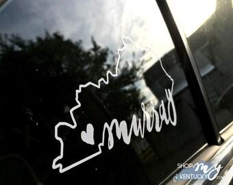Heart Murray, Kentucky Vinyl Decal, White, Gold
