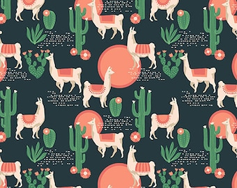 Lingering Llamas Sedon Cactus Llama Alpaca Geometric Cotton Fabric from the Florabelle Collection by Joel Dewberry for Free Spirit Fabrics
