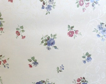 White Vintage Floral Wallpaper Satin Blue Pink Green 80842 Double Rolls