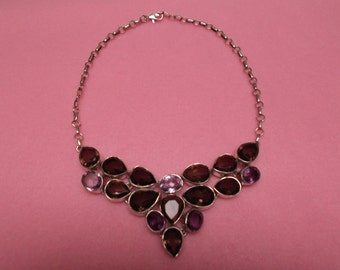 Gorgeous Abstract Smokey Quartz and Amethyst Necklace