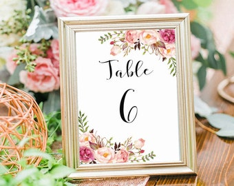 Wedding Table Numbers 6-10 Printable, 5X7 Table Numbers Wedding, Instant Download, Table Numbers, Printable Table Numbers, Vintage, B120
