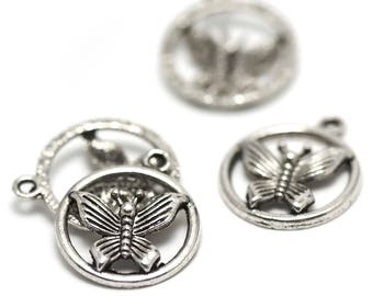 "4 charms ""Dragonfly circled"" 22 x 20 mm, silver, A 045"