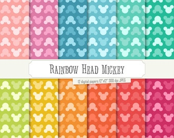 Buy 2 Get 1 Free! Digital Paper Rainbow Head Mickey Pattern, Green, Purple, Blue, Pink, Mint, colored ears, colorful background, seamless