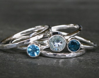 Aquamarine Stacking Ring Sterling Silver, Swiss Blue Topaz, London Blue Topaz, Stackable Gemstone Rings, Faceted Birthstone, Custom Set of 5