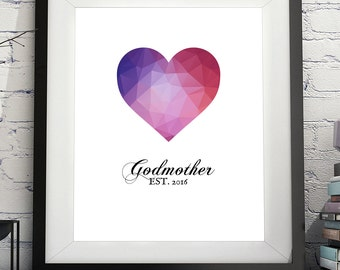 Godmother Art Print, Godmother Gift, Will You be my Godmother, Godparent Gift, Baptism Gift for Godmother, Baptism Gift for Godparents