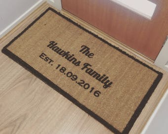 WEDDING ANNIVERSARY HOUSEWARMING Gift Personalised Doormat