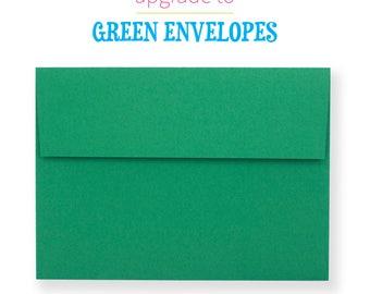 Green Envelopes Upgrade   A7 Envelopes   Peel and Stick Envelopes   Matte Green   5x7