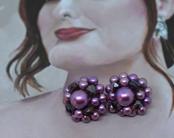 Vintage 1950's Earrings Signed Japan Mid Century Clip On Purple