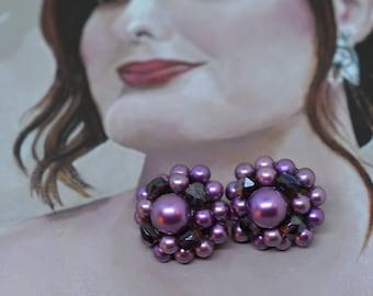 Vintage 1950's Earrings Signed Japan Mid Century Clip On Purple