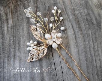 Gold Boho Hair Pin, Boho Wedding Gold Flower Hair Pin and Comb, Wedding Gold Hair vine leaves, Wire Hair Comb, Boho Headpiece -  ...