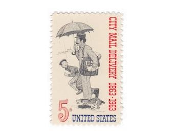 10 Unused Vintage US Postage Stamps - 1963 5c City Mail Delivery - Item No. 1238