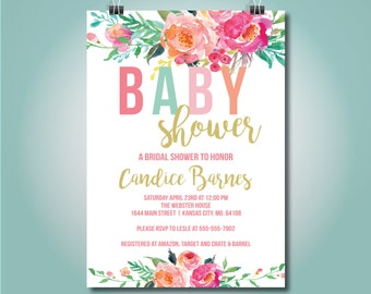 Colorful Floral Baby Shower Invite, Baby Shower, 5x7, Girl - OLDP450
