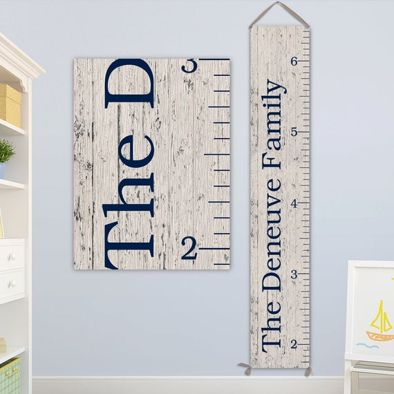 Family Gift - Personalized Family Growth Chart on Canvas, Wooden Growth Ruler - GC0102N