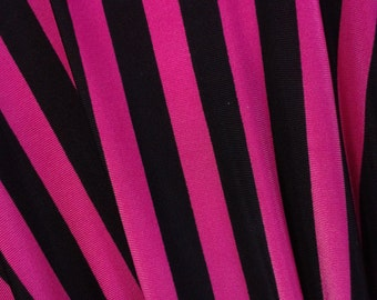 Hot Pink and Black Stripe Spandex Fabric By The Yard
