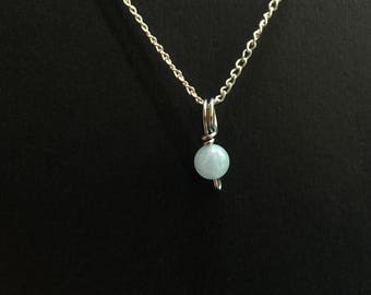 Tiny Blue Morganite Charm Necklace
