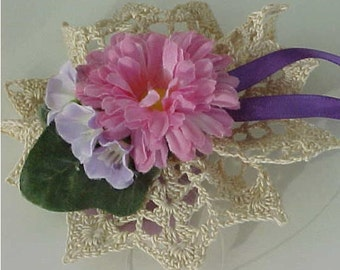 Crocheted Ecru Tussie Mussie Brooch or Pin W/Pink and White Flower, Purple Ribbon