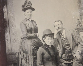 Tintype Photograph of a Two Women and a Man, Antique from the 1800s, #TT18