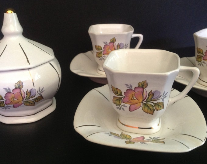 Featured listing image: ceramic floral pattern demitasse tea set for 6 with sugar bowl