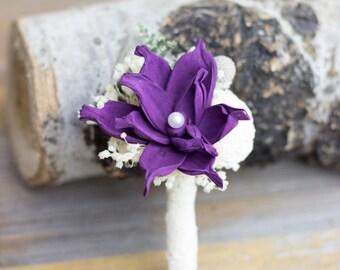 Wedding Boutonniere, Purple Sola Flower Boutonniere, Groom Boutonniere,Rustic Boutonniere, Woodland Boutonniere, Keepsake Boutonniere