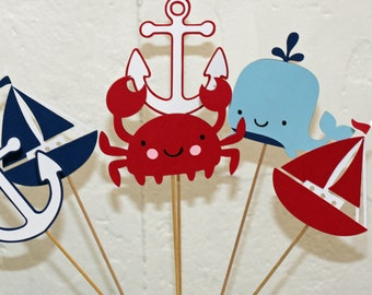 3 nautical Table Decor Sticks, Centerpiece Sticks, Nautical Birthday, Nautical Baby Shower, Nautical centerpiece, crab birthday, anchor