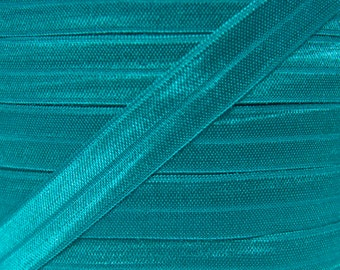 Teal Fold Over Elastic - Elastic For Baby Headbands and Hair Ties - 10 Yards of 5/8 inch FOE