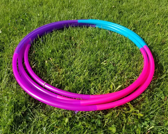 """UV Razzberry Ombre 4 Tone Polypro Hula Hoop 3/4""""or 5/8"""" Collapsible for Travel- Push Pin Connection"""